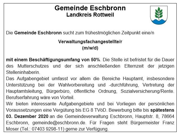 2020-11-12_Stellenausschreibung_Gemeinde_Eschbronn